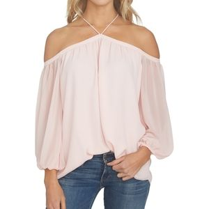 1. State Off the Shoulder Sheer Chiffon Blouse NWT